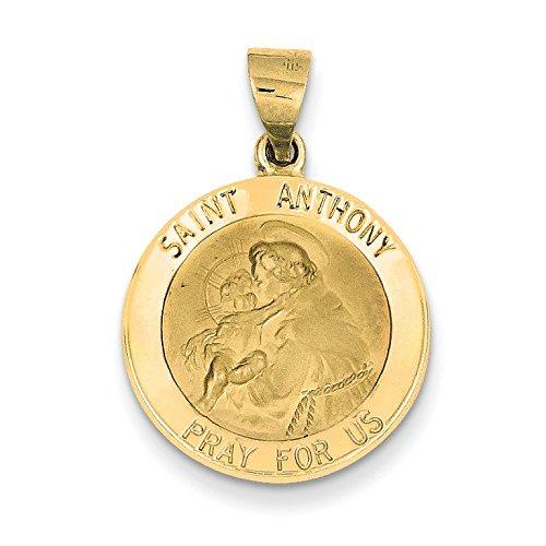 Médaille RONDE 14 Carats Pendentif St Antoine-Dimensions :  18,5 x 27,2 mm-JewelryWeb