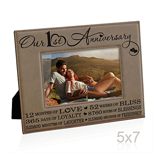 Kate Posh - Our First (1st) Anniversary Engraved Leather Picture Frame - Gifts for Couple, Gifts for Him, Gift for Her, Paper Anniversary Gifts, First Wedding Anniversary Photo Gifts (5x7-Horizontal)
