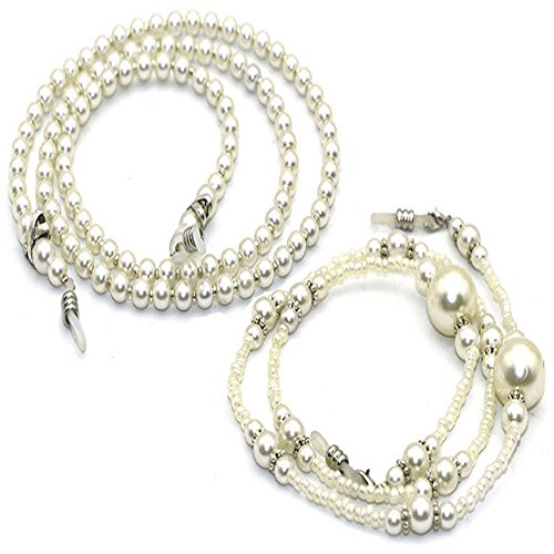 2Pcs Imitation Pearl Beaded Eyeglasses Chain Straps Sunglass Holder by HZYFP