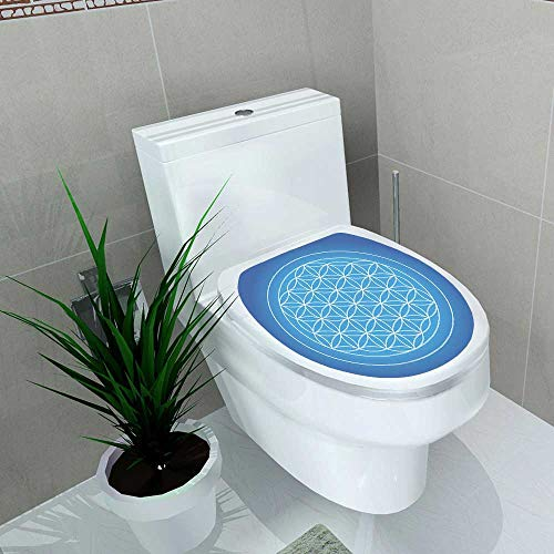 Auraise-home Bathroom Toilet seat Sticker Decal House Square Flower of Life Sacred Geometry of Nature ConsistingOf Types Overlapping Decal Sticker Vinyl W8 x L11