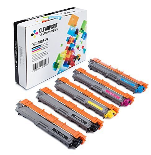Clearprint TN221 / TN225 Compatible Toner Cartridge Replacement for Brother TN221/ TN225 (2 Standard Yield Black, 1 Cyan, 1 Yellow, 1 Magenta, 5-Pack) Compatible Cartridge Oem Part