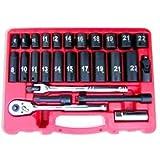 Neiko Tools USA 27 pc 3/8'' Drive Hi-Viz SAE Impact Socket Set