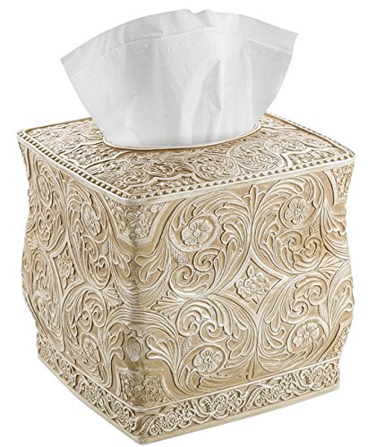 Creative Scents Square Tissue Box Cover - Decorative Bathroom Tissue Holder is Finished in Beautiful Victoria Collection for Cute Elegant Bathroom Decor (Beige) ()