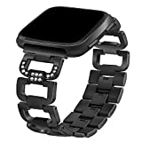 TOOGOO For Fitbit Versa Bands, Replacement Bands Straps Wristbands for Fitbit Versa Watch alloy Sport Bling Adjustable for Women Men: Black