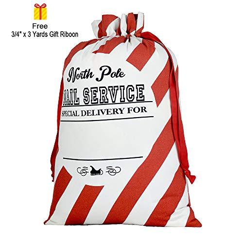 Blank Santa Sack, Personalized Christmas Gift Bag with Drawstring and Gift RibbonSize ()