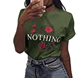 Huitian23 Womens Nothing Rose Printed Pullover Casual Tees T-Shirt