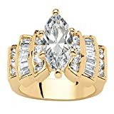 Palm Beach Jewelry 14K Yellow Gold-Plated Marquise Cut Cubic Zirconia Step Top Engagement Anniversary Ring Size 6