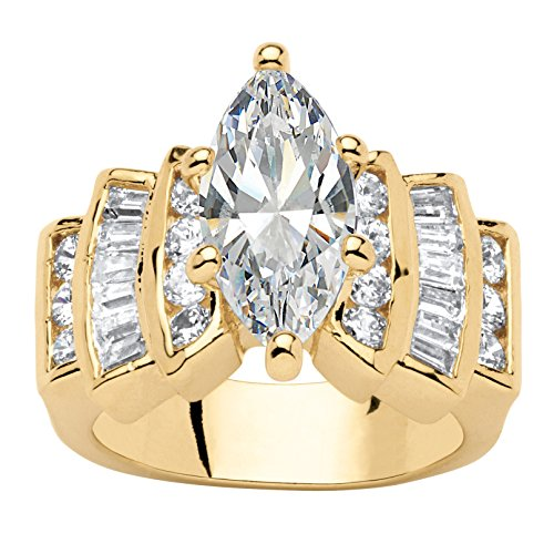 Palm Beach Jewelry 14K Yellow Gold-Plated Marquise Cut Cubic Zirconia Step Top Engagement Anniversary Ring Size 9