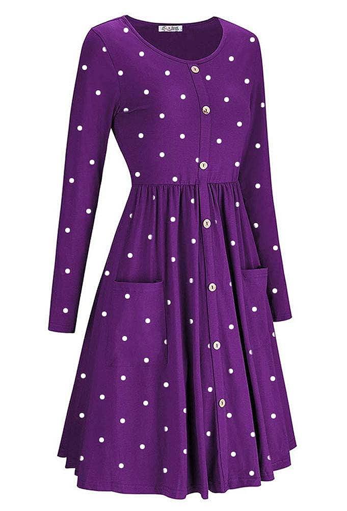 ECHOINE Womens Summer Dresses Floral Boho Spaghetti Strap Button Down Swing Midi Beach Dress with Pockets
