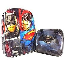 "DC Comics Batman vs Superman 16"" Red School Backpack w/Insulated Lunch Bag"