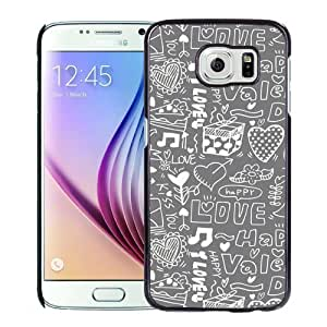Fashionable Custom Designed Samsung Galaxy S6 Phone Case With Love Happiness Doodles_Black Phone Case