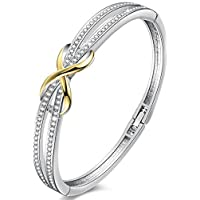 """Angelady""""Forever and Ever""""Silver Infinity Ladies Bracelets Bangles for Womens Bracelet Magnetic Mum Bracelets Crystals from Swarovski