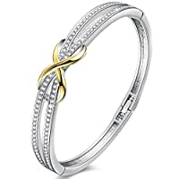 Angelady ''Forever and Ever'' Knot Design Infinity Bangles Bracelets for Womens Crystals from Swarovski in Silver Wedding Birthday Gifts for Mum Wife Girls-Come with Delicate Box (Crystals)