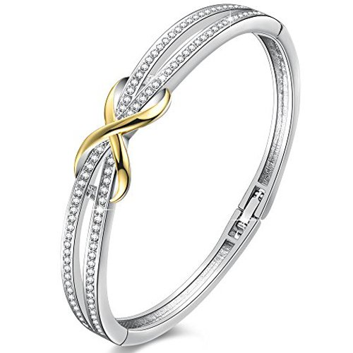 Angelady-Forever-and-Ever-Knot-Shape-Bracelets-for-Womens-Crystals-from-Swarovski-Bracelets-Bangle-in-Silver-White-Gold-Bracelets-Jelellery-for-Women-Mum-Gifts-18th-Birthday-Gifts-for-Girls
