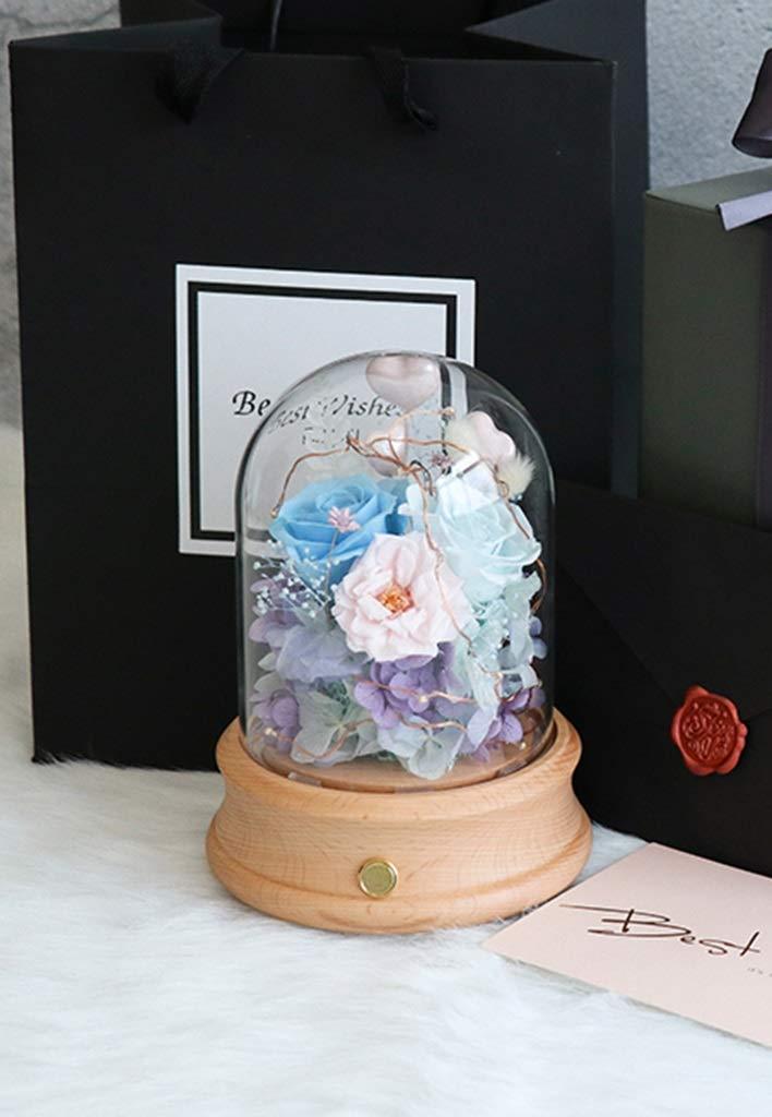 HARDY-YI 永遠の花のガラスカバーオルゴールのライトブルートゥーススピーカードライフラワーディーの誕生日ギフトボックスバレンタインギフト永遠の花 - 永遠の花 995 (色 : B) B07R9J9L27 B