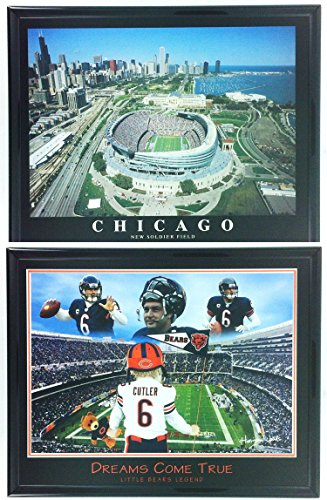 (Chicago Bears Little Legend Framed Lithograph & New Soldier Field Framed Aerial Photo Set of 2 LL5000)