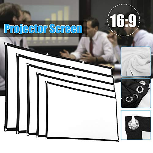 100 Inch 16:9 HD Projector Screen,Foldable Portable Projector Movies Screen for Home Theater Outdoor Indoor Support,with Small Hole and Hook,Easy to Install (White, 100inch)