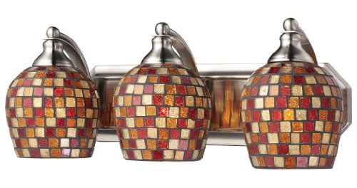Elk 570-3N-MLT 3-Light Vanity In Satin Nickel and Multi Mosaic Glass (Mlt Vanity Vanity Light)