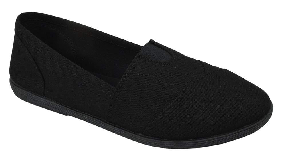 Soda Flat Women Shoes Linen Canvas Slip On Loafers Memory Foam Gel Insoles OBJI-S All Black 7