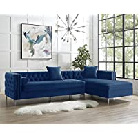 Inspired Home Giovanni Collection Velvet Modern Button Tufted with Silver Nail Head Trim Right Facing Hidden Storage Chaise Sectional Sofa, 115 H, Navy