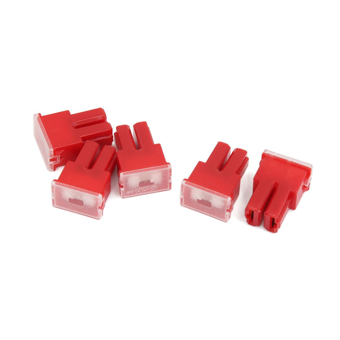 uxcell 50A 32V Car Pacific Type PAL Female Terminals Slow Blow Slot Fuses Red 5pcs a16041900ux0706