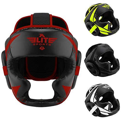Elite Sports MMA Sparring Boxing Head Gear (Red/Black)