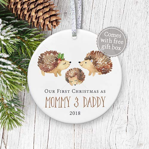 Christmas Gifts For New Parents.1st Christmas As Mommy Daddy 2018 New Parents 2018 First Christmas Ornament Rustic Watercolor New Baby Ornament 3 Flat Ceramic Ornament Gold
