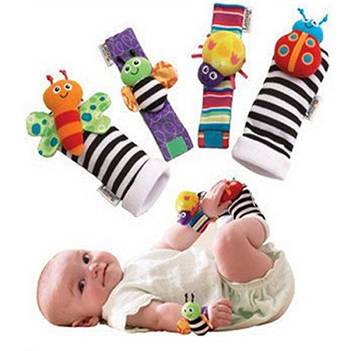 4Pcs Lovely Animal Baby Infant Kids Rattles Finders Glove Toys Hand Foot Socks - Stores Us R Toys Sydney