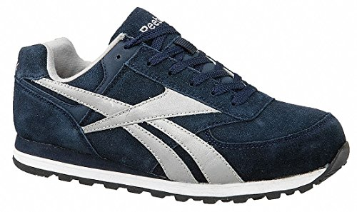 Women's Athletic Style Work Shoes, Steel Toe Type, Suede Upper Material, Navy Blue, Size 12 ()