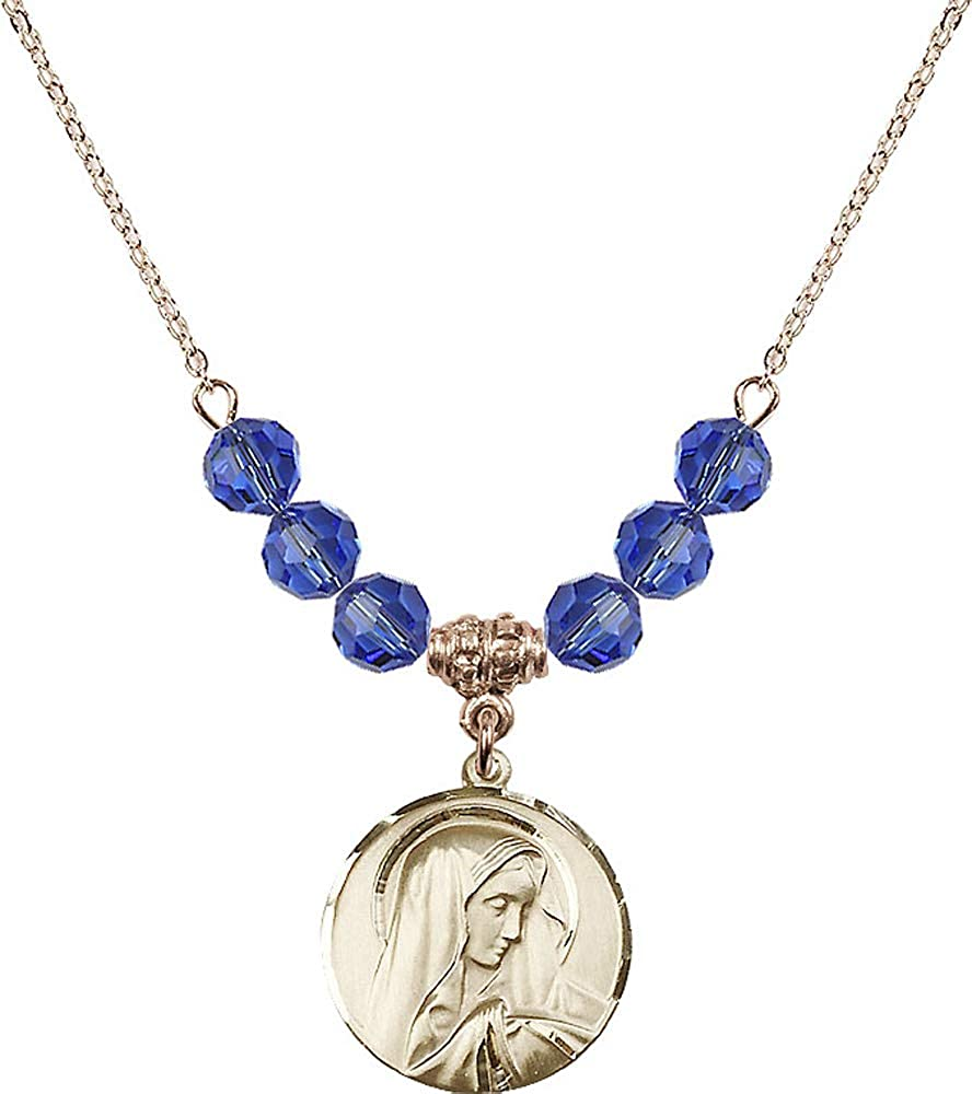 18-Inch Hamilton Gold Plated Necklace with 6mm Sapphire Birthstone Beads and Sorrowful Mother Charm Blue Sapphire September Birthstone