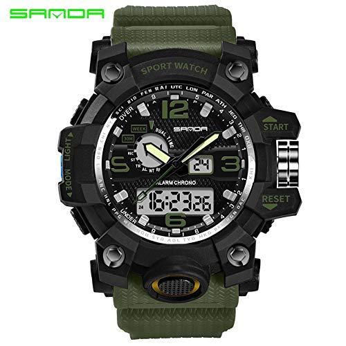 Reloj Digital Hombre, Reloj análogo LED Deportivo a Prueba Agua, Reloj Pulsera Cuarzo Militar
