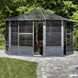 Gazebo Penguin 41212-32 All-Season Solarium Gazebo, 12′ x 12′, Slate