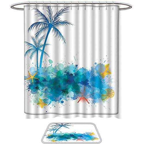 QINYAN-Home Pattern Printing Suit Seashells Decor Summer View with Watercolors Coconut Palm Trees and Splashes Hiding Starfishes Print Blue White. Bath Towels Sets(Ten Sizes Select)