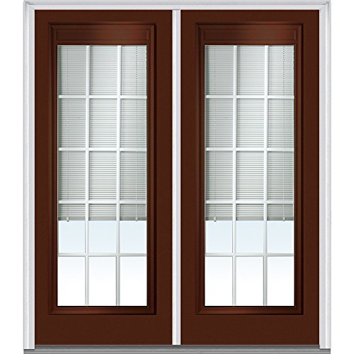 National Door Company Z010557L Steel Redwood, Left Hand In-swing, Prehung Door, Full Lite, Clear Low-E Glass with RLB and GBG, 64'' x 80'' by National Door Company