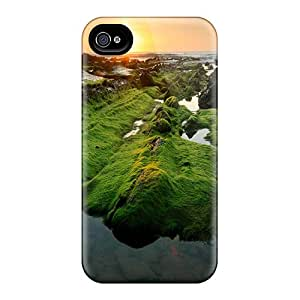 Iphone 4/4s GiKgzbH6391SaQst Sunset Over Moss Covered Rocky Shore Tpu Silicone Gel Case Cover. Fits Iphone 4/4s