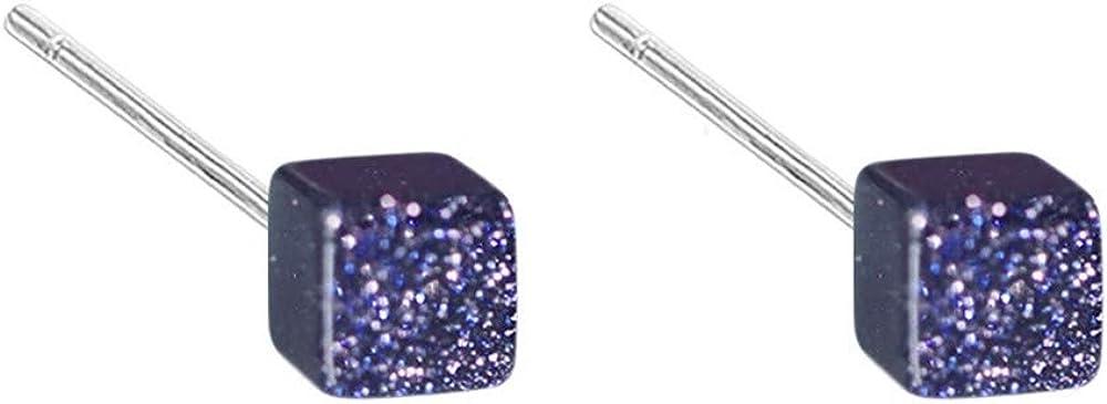 ZhcmyPendientes De Plata Esterlina S925 Para Mujer Pendientes De Botón Cuadrado Con Piedra Arenisca Azul Celeste De S925
