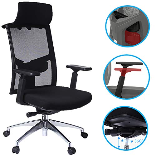 (Tdbest Highback Mesh Office Chair with Adjustable Armrest Lumbar Support Headrest, Ergonomic Swivel Desk Chair for Office Guest Reception/Conference Room)