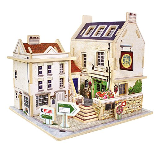 (Gbell  3D Puzzle House Model Kits,DIY Handmade Dollhouse Models Wooden Playhouse Cottage Furniture Handcraft Miniature Assembly Doll Theater Creative Townhome Artwork Toy for Adult Kids)