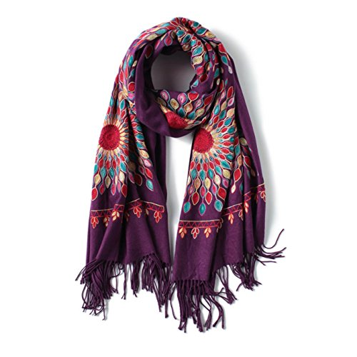 Winter Scarf Vintage Embroidery Thick Warm Women Scarves Cashmere Shawls