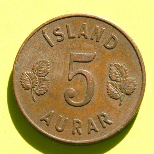 ICELAND 5 AURAR coin 1946 #3