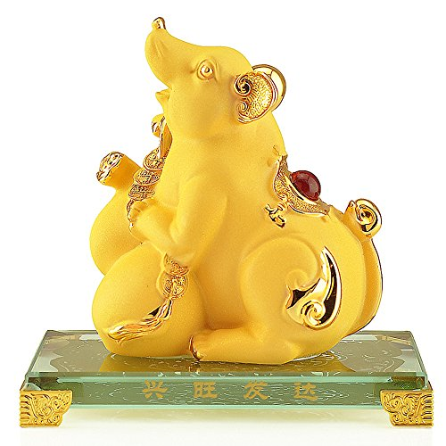 Wenmily Chinese Zodiac Rat Golden Resin Collectible Figurines Table Decor Statue