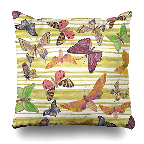 Ahawoso Throw Pillow Cover Garden Yellow Drawn Atercolor Painting Floral Pattern Roses Butterflies Watercolor Exotic Flower Decorative Cushion Case Square 16
