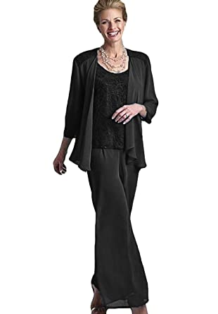 1cf53acb4f6 WZW Lace Mother of The Bride Pant Suits with Jackets Scoop Neck Wedding  Guest Plus Size