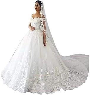 Andybridal Gorgeous Plus Size Off Shoulder Lace Court Train Bridal Gowns  Wedding Dress for Bride 2019 c337e4bd7399