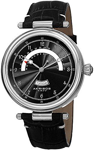 Akribos XXIV Men's AK795SSB Quartz Movement Watch with Black Dial and Leather Strap