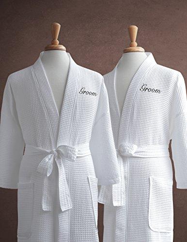 Same-Sex Couple s Waffle Weave Bathrobe Set - 100% Egyptian Cotton -  Unisex One Size Fits Most - Spa Robe 325756281