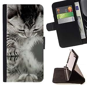 Momo Phone Case / Flip Funda de Cuero Case Cover - Americano de Pelo Corto Rizo Negro Blanco Gatito; - HTC DESIRE 816