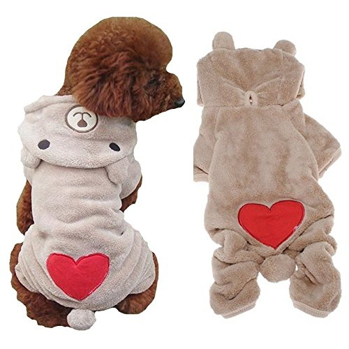 Cute Dog Bear Costume (AStorePlus Adorable Dog Outfits Pet Apparel, Cute Heart Bear Costume Jumpsuit Hoodies Sweater Coat Clothes For Small Dogs Puppy Pets Cats, S Light Coffee)
