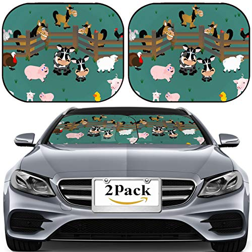 MSD Car Sun Shade for Windshield Universal Fit 2 Pack Sunshade, Block Sun Glare, UV and Heat, Protect Car Interior, Image ID: 8643234 Pigs Rooster Sheep Cows Cardinal and Horses Out in Pasture