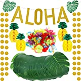 Toys : 143 Pieces Hawaiian Tropical Luau Theme Party Decorations Set, Include Tissue Paper Pineapples, Tropical Palm Simulation Leaves, Artificial Hibiscus Luau Flowers, Gold Glittery Aloha Banner